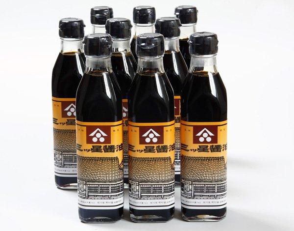 画像1: 【お徳用/シェア用】三ツ星醤油 300ml 9本 (1)